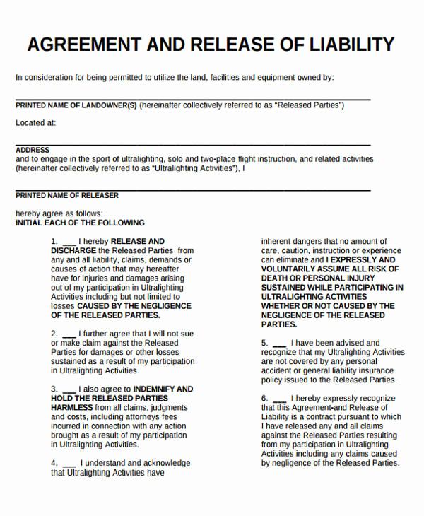 General Release Of Liability forms Unique Sample General Liability Release form 7 Examples In