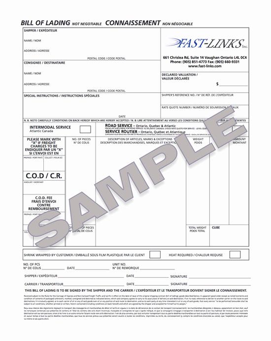 Generic Bill Of Lading Beautiful Fast Links Inc is A toronto Based Ltl Logistics Provider