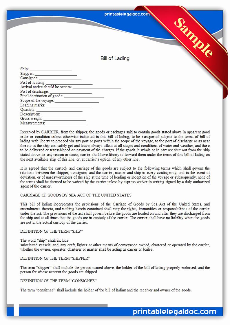 Generic Bill Of Lading Beautiful Free Printable Bill Lading form Generic