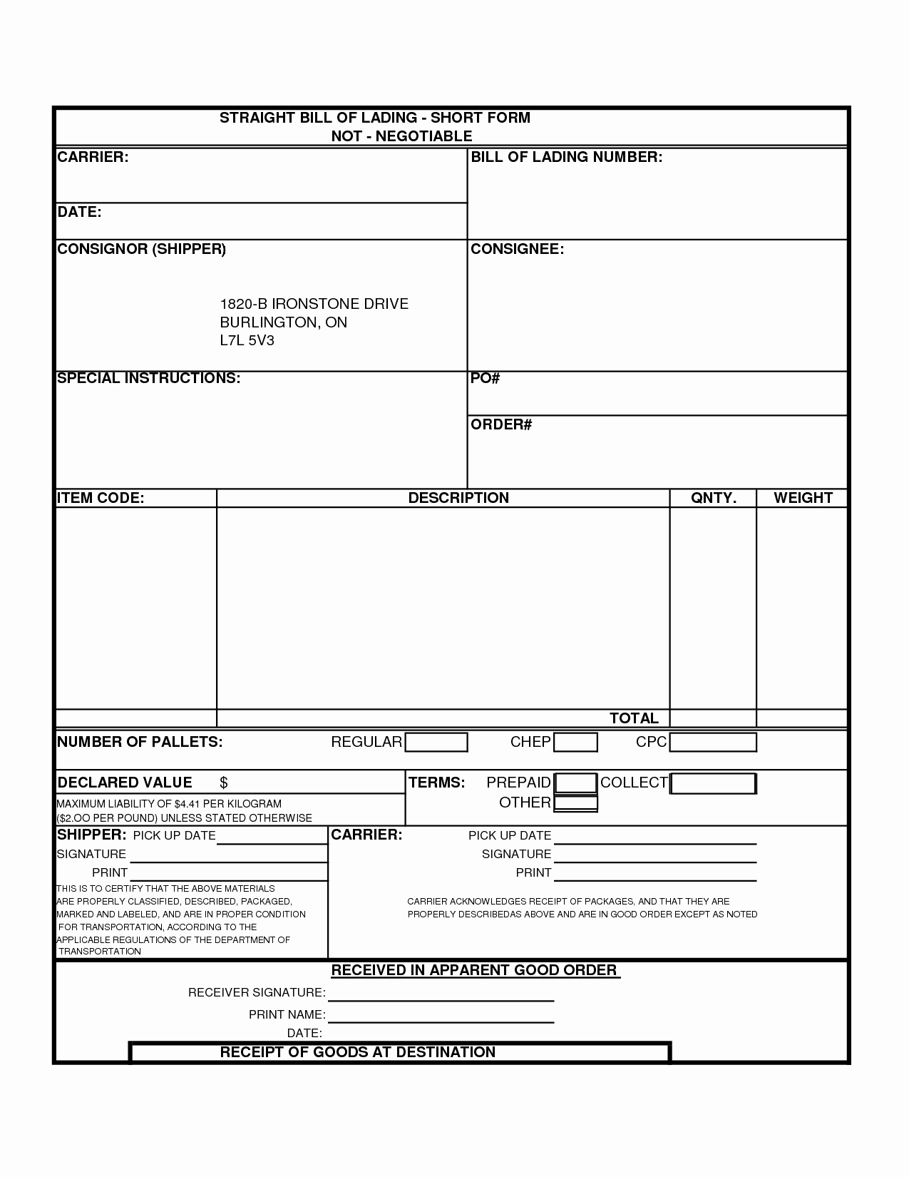 Generic Bill Of Lading Lovely Bill Lading Template