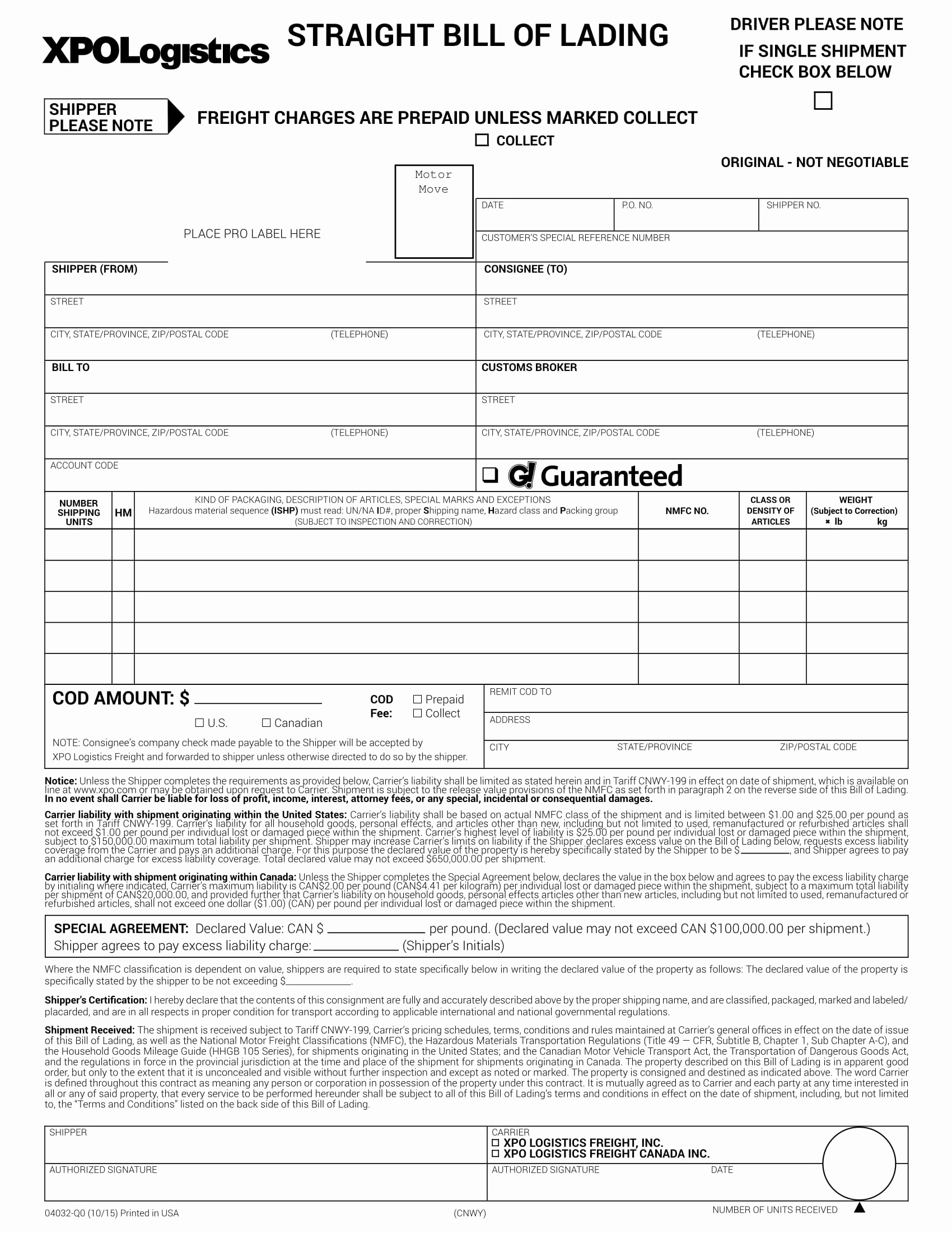 Generic Bill Of Lading Luxury 9 Generic Bill Of Lading Examples Pdf