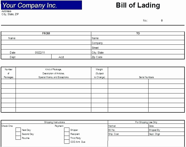 Generic Bill Of Lading Unique 13 Bill Of Lading Sample Pdf