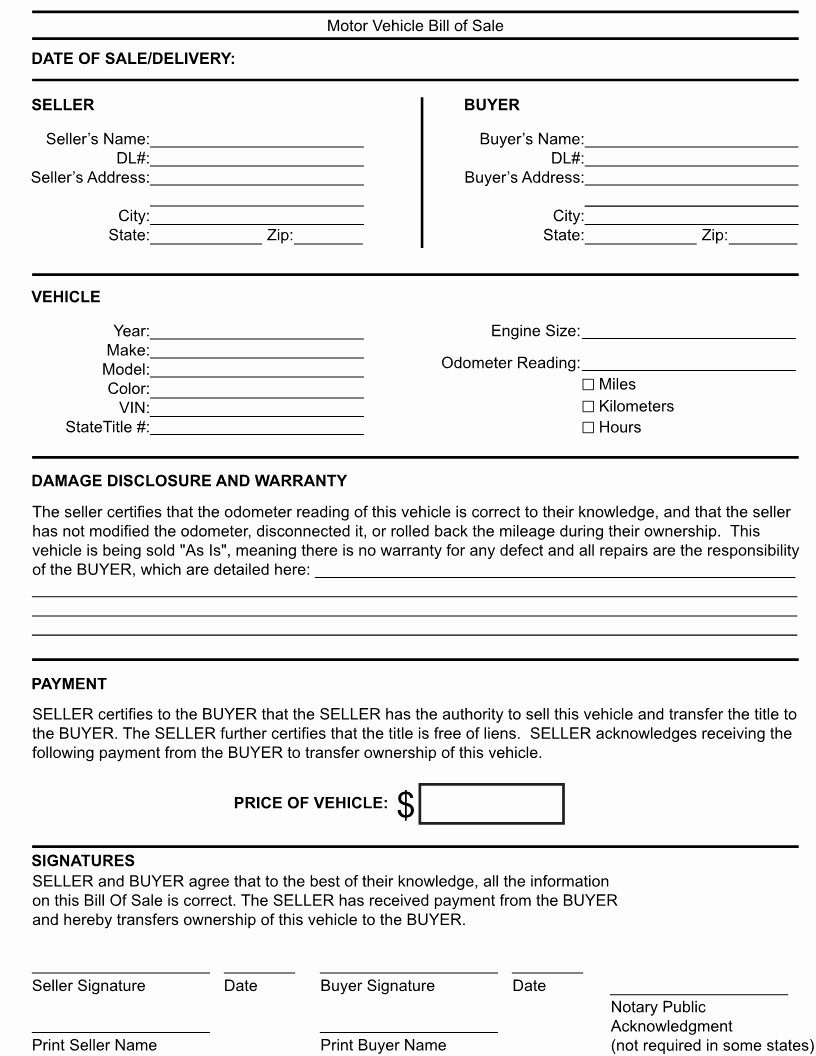 Generic Bill Of Sale form Awesome Free Kentucky Generic Bill Of Sale form Download Pdf