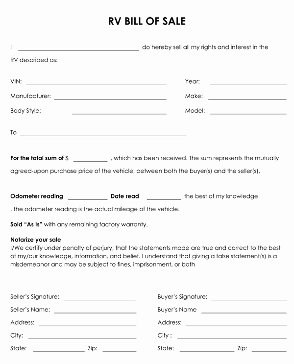 Generic Bill Of Sale form Awesome Free Printable Camper Bill Of Sale form Free form Generic