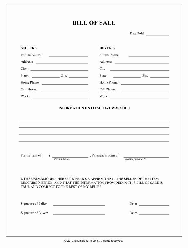 Generic Bill Of Sale form Best Of General Bill Sale form