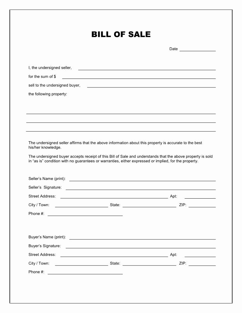 Generic Bill Of Sale form Elegant Free Blank Bill Of Sale form Download Pdf