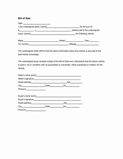 Generic Bill Of Sale form Elegant General Bill Of Sale form Free Download Create Edit