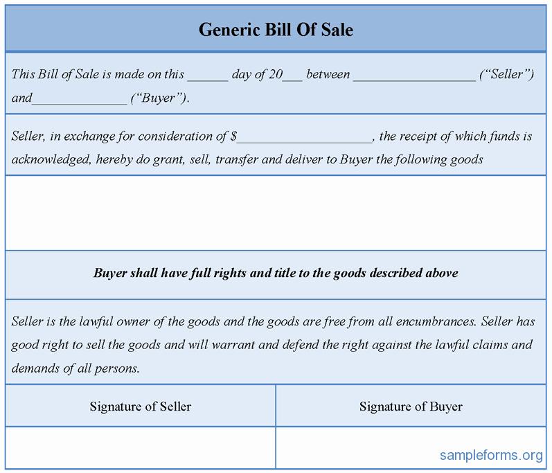 Generic Bill Of Sale form Elegant Generic Bill Sale form Sample forms
