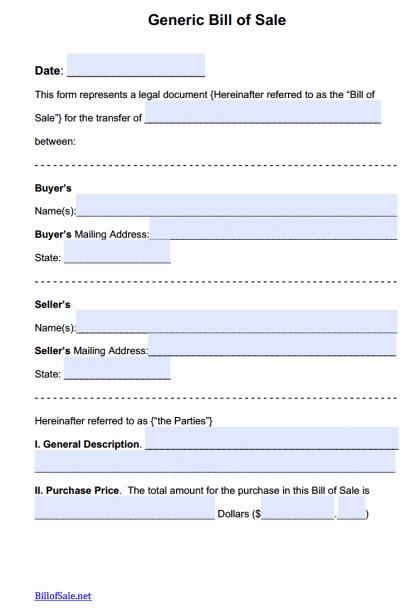 Generic Bill Of Sale form Fresh Free General Bill Of Sale forms Pdf