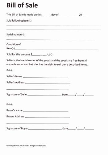 Generic Bill Of Sale form Fresh Free Printable Rv Bill Of Sale form form Generic
