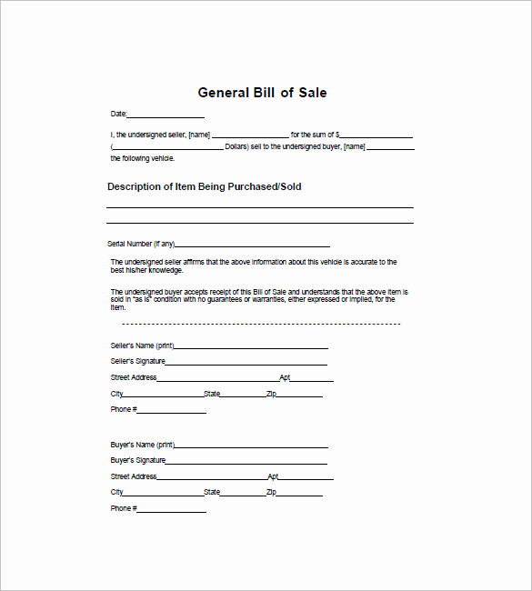 Generic Bill Of Sale form Fresh General Bill Of Sale 7 Free Sample Example format