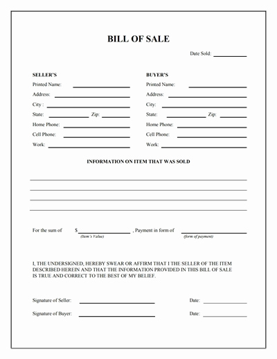 Generic Bill Of Sale form Fresh General Bill Of Sale form Free Download Create Edit