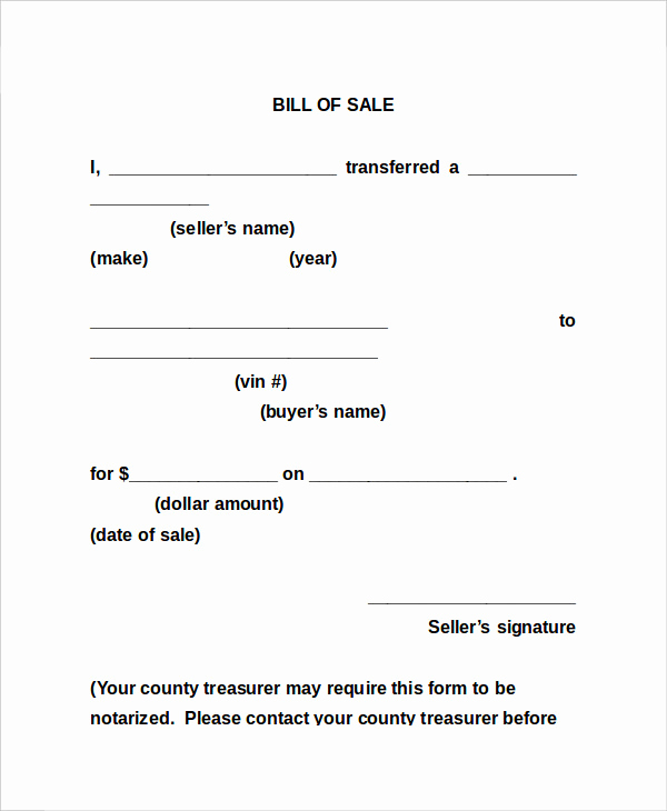 Generic Bill Of Sale form Lovely Bill Sale form 13 Free Word Pdf Documents Download