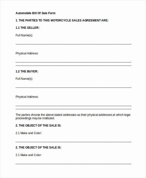 Generic Bill Of Sale form Luxury Auto Bill Sale 8 Free Word Pdf Documents Download