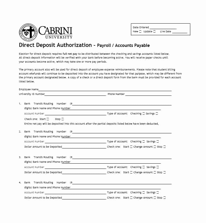 Generic Direct Deposit form Beautiful 47 Direct Deposit Authorization form Templates Template