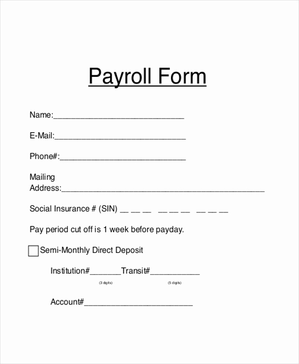 Generic Direct Deposit form Beautiful Sample Payroll forms 19 Free Documents In Word Pdf