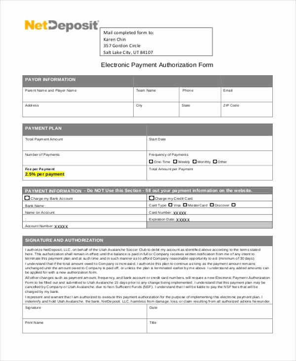 Generic Direct Deposit form Elegant Sample Authorization forms In Pdf 35 Free Documents In
