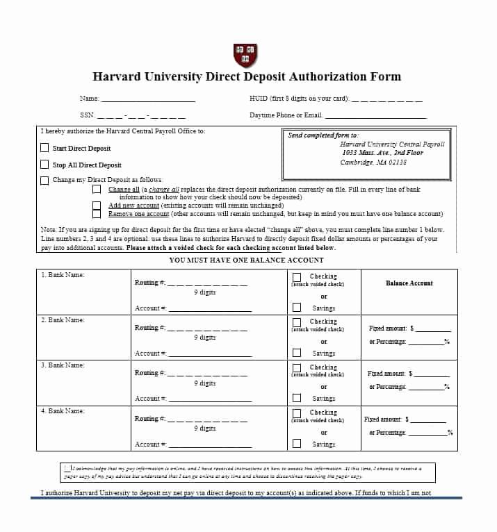Generic Direct Deposit form Fresh 47 Direct Deposit Authorization form Templates Template