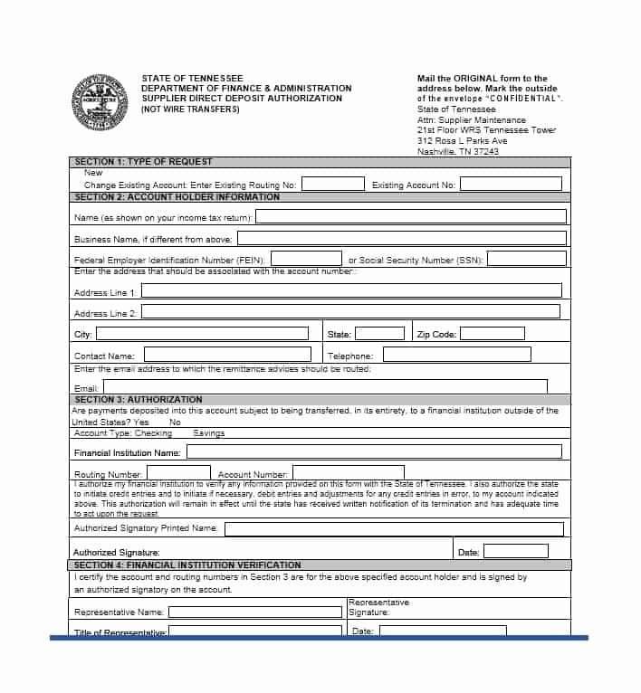 Generic Direct Deposit form Inspirational 47 Direct Deposit Authorization form Templates Template
