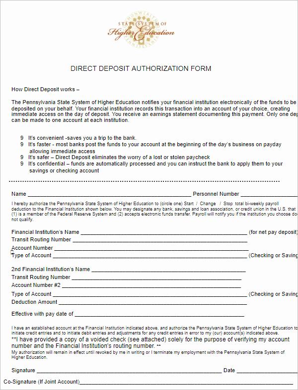 Generic Direct Deposit form Lovely 26 Free Deposit form Templates Word Adp