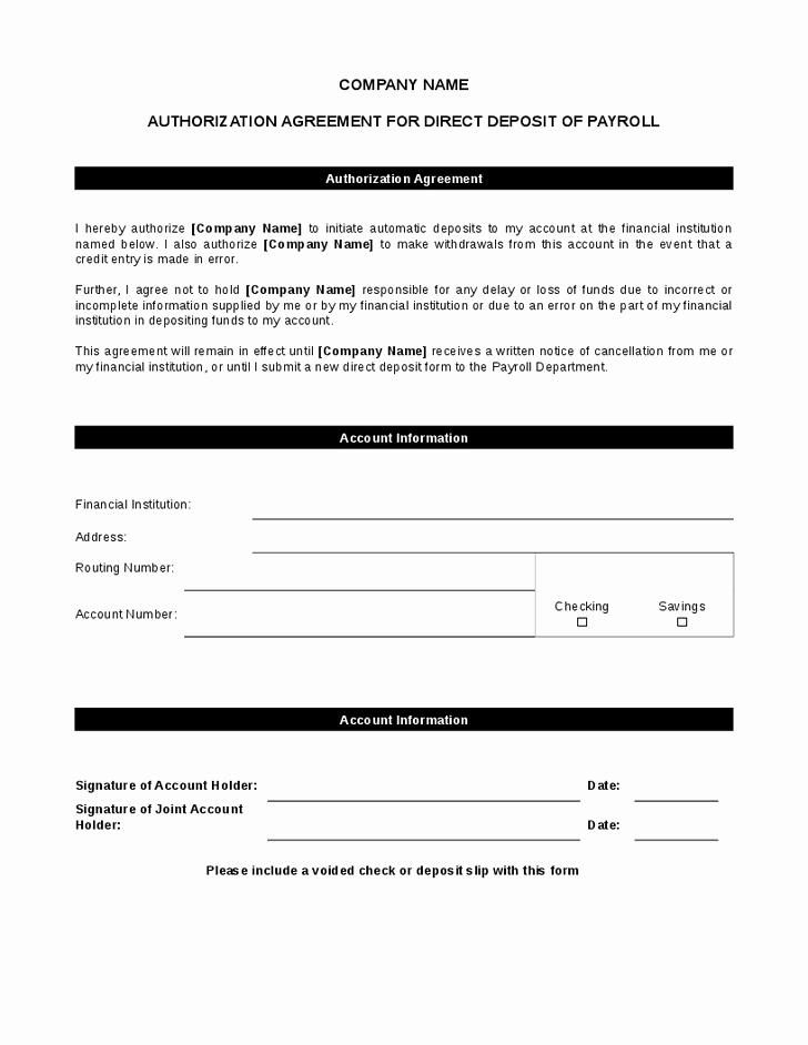 Generic Direct Deposit form Luxury Generic Direct Deposit form