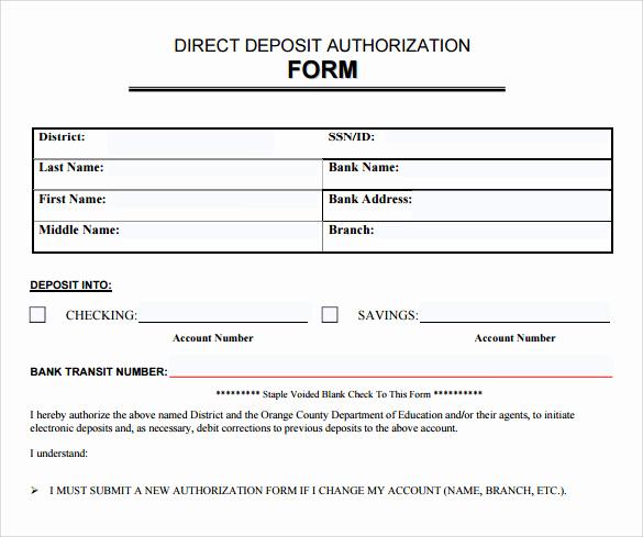 Generic Direct Deposit form Luxury Sample Direct Deposit Authorization form 7 Download