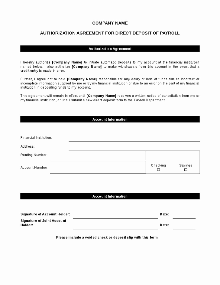 Generic Direct Deposit form New Generic Direct Deposit form