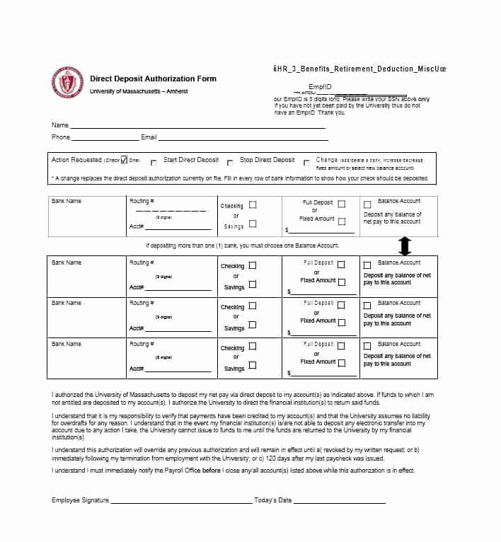 Generic Direct Deposit form Unique 47 Direct Deposit Authorization form Templates Template