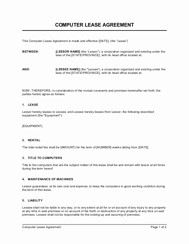 Generic Lease Agreement Pdf Elegant Puter Lease Agreement