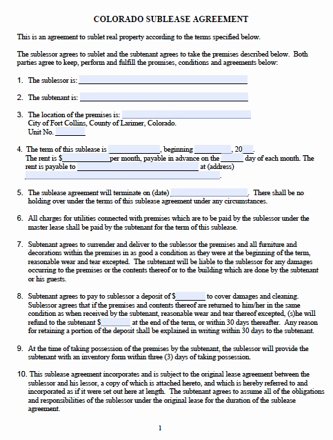 Generic Lease Agreement Pdf Fresh Download Colorado Rental Lease Agreement forms and