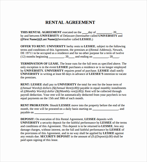 Generic Lease Agreement Pdf Fresh Sample Generic Rental Agreement 6 Free Documents In Pdf
