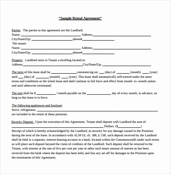 Generic Lease Agreement Pdf Inspirational Sample Generic Rental Agreement 6 Free Documents In Pdf