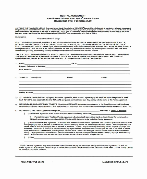 Generic Lease Agreement Pdf Luxury 7 Generic Rental Agreement form Samples Free Sample