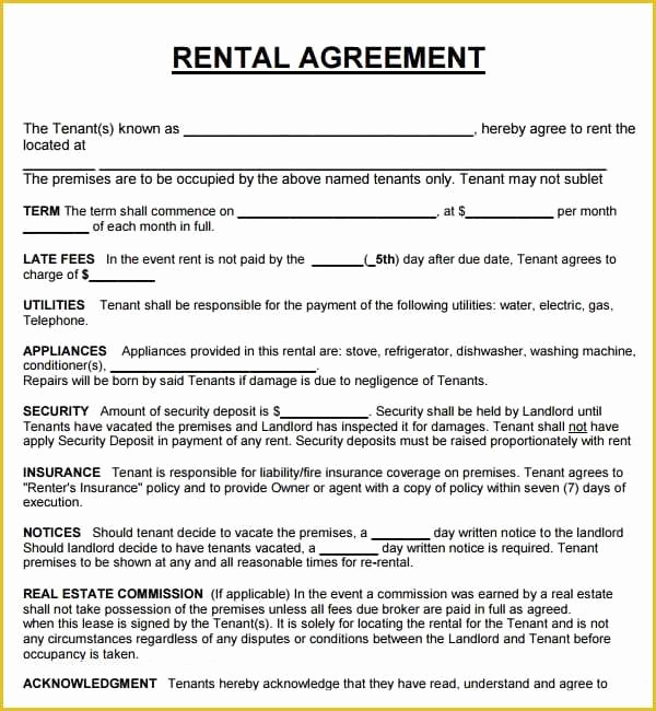 Generic Lease Agreement Pdf Unique Free Lease Agreement Template Word Tenancy Agreement