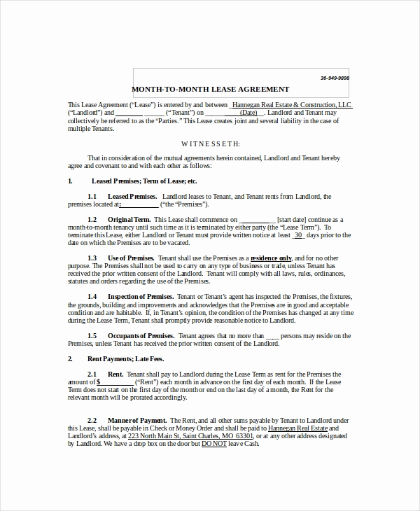 Generic Lease Agreement Pdf Unique Month to Month Lease Agreement 8 Free Pdf Word Google