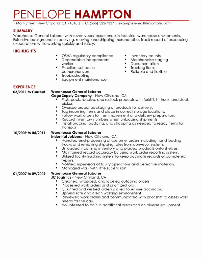 Generic Objective for Resume Awesome Best General Labor Resume Example