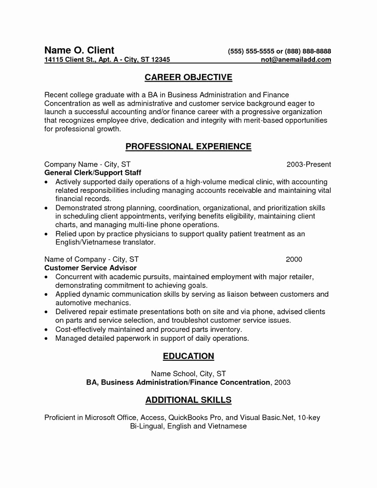 Generic Objective for Resume Awesome Entry Level Bookkeeper Resume Sample