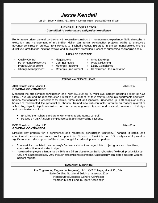 Generic Objective for Resume Awesome General Contractor Resume Objective Examples