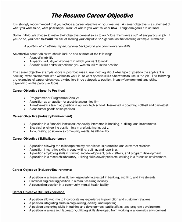 Generic Objective for Resume Fresh General Resume Objective Sample 9 Examples In Pdf