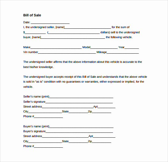 Generic Vehicle Bill Of Sale Fresh Sample Vehicle Bill Of Sale form 8 Download Free