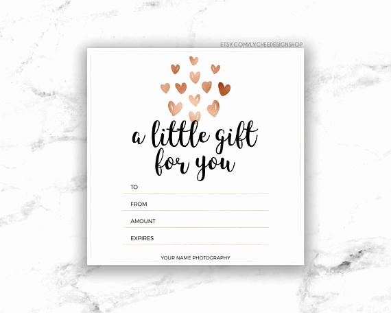 Gift Card Template Word Elegant Printable Rose Gold Hearts Gift Certificate Template