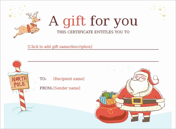 Gift Card Template Word Lovely Christmas Gift Certificate Template 11 Word Pdf