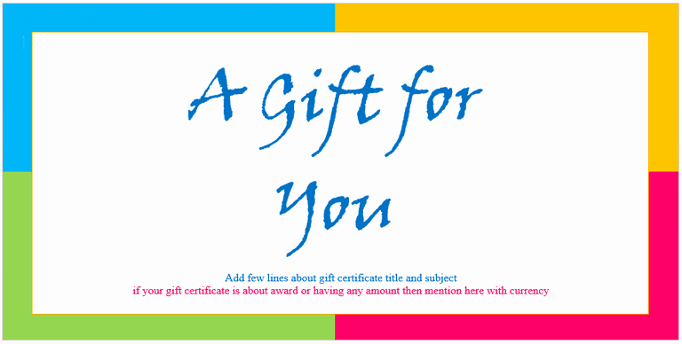 Gift Card Template Word Lovely Custom Gift Certificate Templates for Microsoft Word