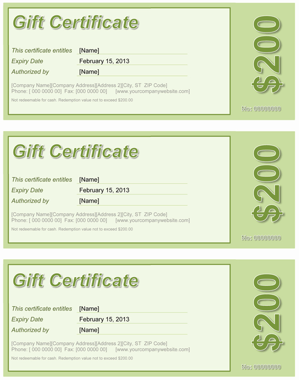 Gift Card Template Word Unique Gift Certificate