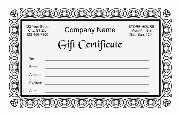 Gift Card Template Word Unique Gift Certificate Template 2