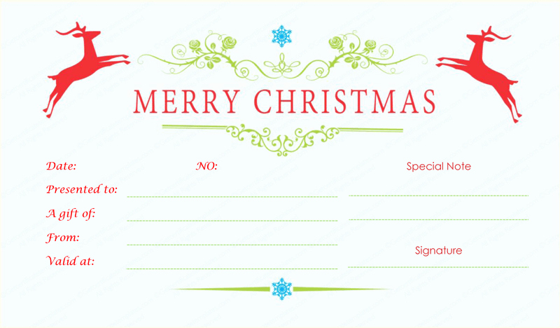 Gift Certificate Template Pdf New Double Reindeer Christmas Gift Certificate Template