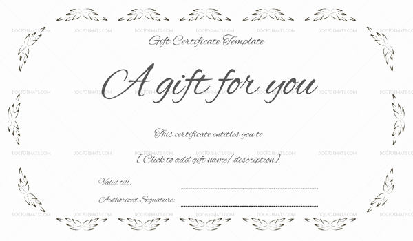 Gift Certificate Template Pdf New Floral Gift Certificate Template Word & Pdf – Doc formats