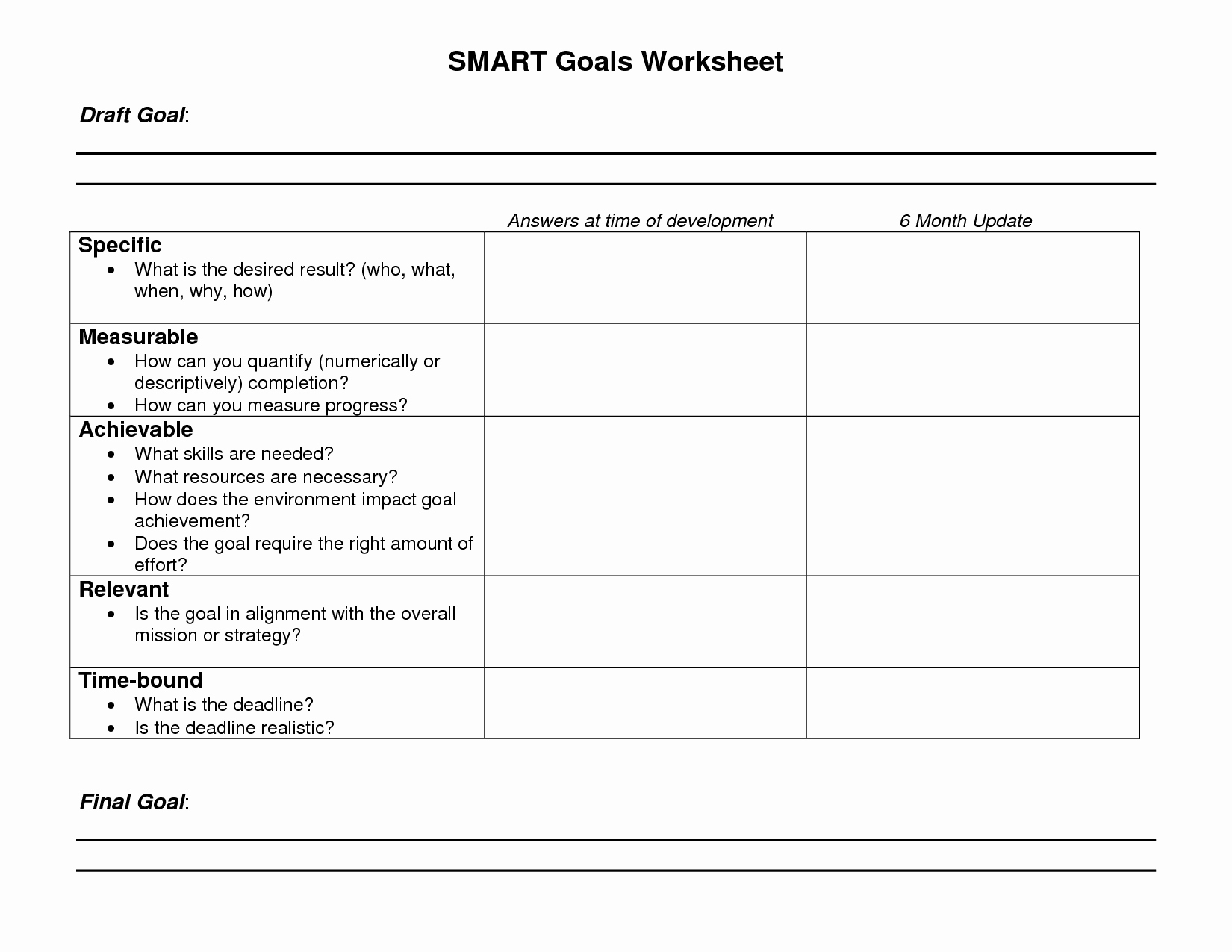 Goal Setting Worksheet Pdf Luxury 8 Best Of Blank Printable Goals Template Smart
