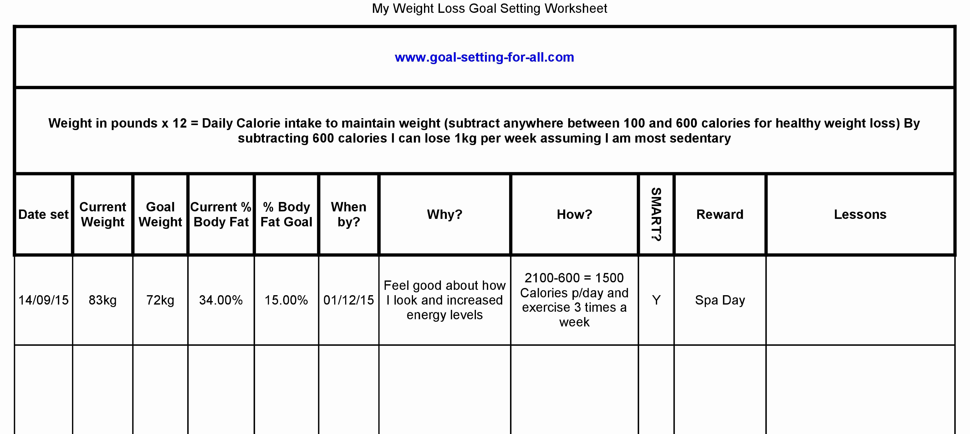 Goal Setting Worksheet Pdf New Weight Loss Goal Setting Worksheet