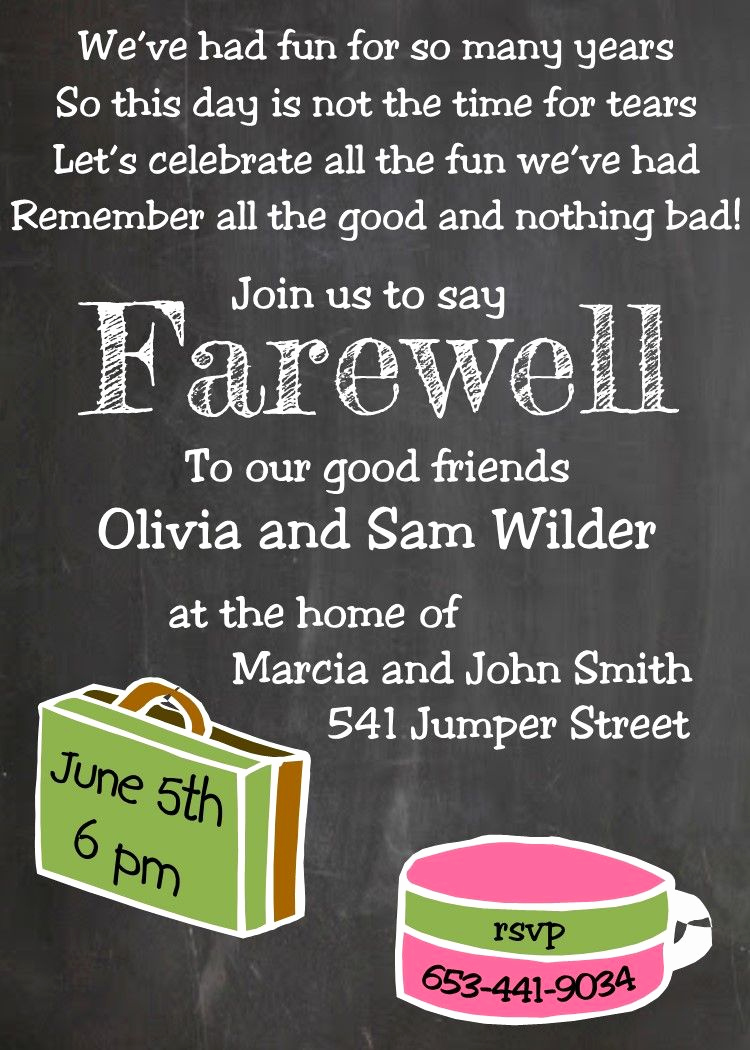 Going Away Party Invitation Fresh Going Away Party Invitations New Selections Chalkboard